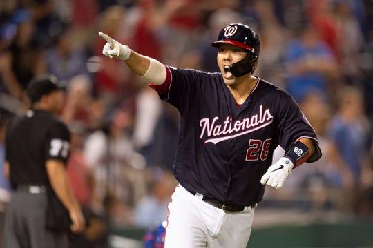 Washington Nationals catcher Kurt Suzuki celebrates after hitting walk-off home run to beat the New York Mets.