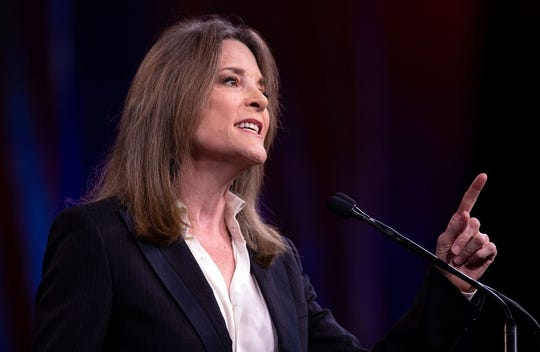 2020 US Democratic Presidential hopeful Marianne US author and writer Marianne Williamson speaks on-stage during the Democratic National Committee's summer meeting in San Francisco, California on August 23, 2019. (Photo by JOSH EDELSON / AFP)