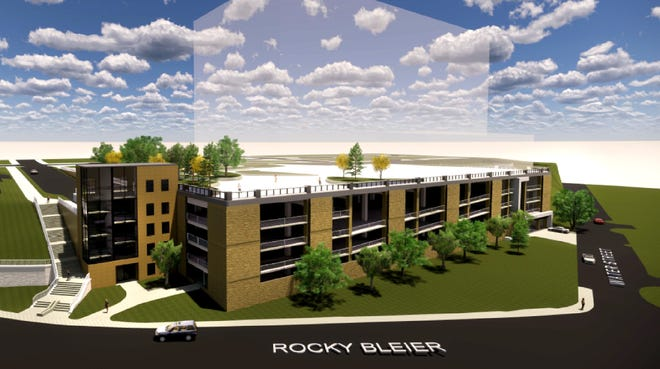 A rendering by Hoffman Planning, Design & Construction shows the south and west elevations of a four-level, 642-space city parking ramp that will be built on Bluff Site 1 in downtown Appleton. U.S. Venture will construct its new headquarters on top of the ramp.