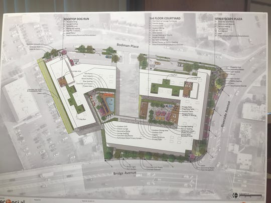 The landscape architectural designs for a 210-unit apartment complex in Red Bank on Bodman Place. The developer 176 Riverside LLC, presented the design to the Planning Board. The design was made by Arterial LLC.