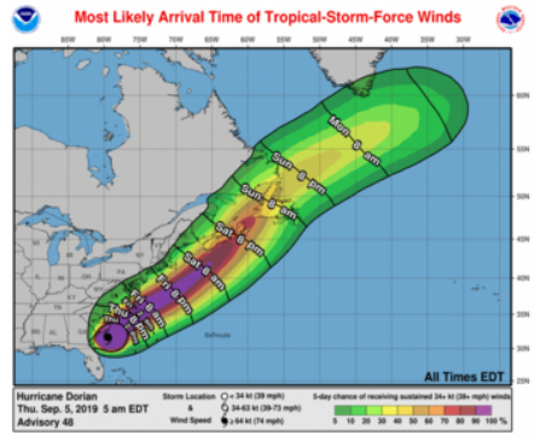 Tropical-storm-force winds will move up and along the coastal United States Friday into Saturday.