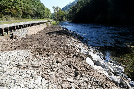 Multiple landslides in the Nantahala Gorge on Aug. 25 left debris that could still be seen along the Nantahala River and U.S. 19/74. Eight miles of the river were under an emergency closure order to the public for all uses.