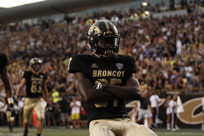 Western Michigan receiver Jayden Reed celebrates a touchdown against Delaware State on Sept. 15, 2018 at Waldo Stadium in Kalamazoo, Michigan. Reed, a Freshman All-American, transferred to Michigan State and will sit out this season due to NCAA transfer rules.