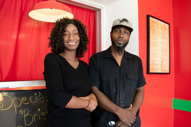 Siblings Bequisha and Dardon Cunningham pose for portrait together inside their new restaurant Quick Bitez BBQ on Thursday, Sept. 5, 2019 in Battle Creek, Mich.