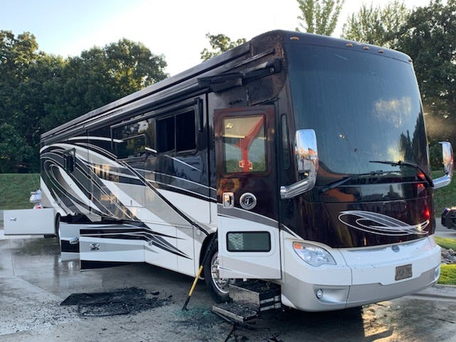 The interior of this coach was destroyed by a fire in the parking lot of the FireKeepers Casino in Emmett Township Thursday morning