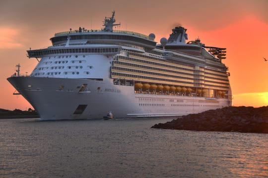 Royal Caribbean's Mariner of the Seas comes into Port Canaveral at dawn Thursday. After inspection, Port Canaveral reopened after Hurricane Dorian passed, with six cruise ships coming into port Thursday. Five of the ships are based out of Port Canaveral with a sixth ship coming into port from Jacksonville.