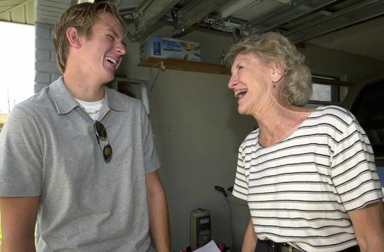 In a photo from 2001, Brevard resident Mary Ann Sterling laughs with her then-17-year-old grandson Matt Armstrong. Sterling founded Grandparents Raising Grandchildren after she and her husband gained custody of Matt when he was 6, after the death of his mother in a car accident. Matt is now 36, an attorney in Orlando and a Grandparents Raising Grandchildren board member.