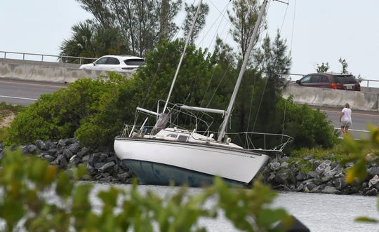 Several boats were swept ashore along the Eau Gallie Causeway in Melbourne due to Hurricane Dorian.