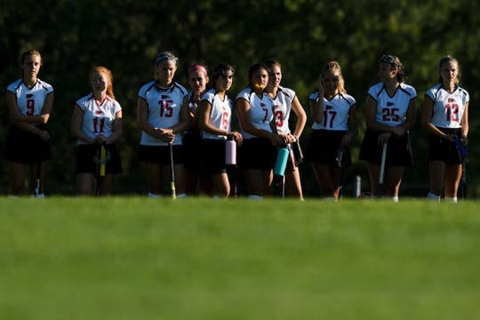 The CUV bench watches the action on the field during the high school girls field hockey game between the South Burlington Wolves and the Champlain Valley Union Redhawks at CVU High School on Thursday afternoon September 5, 2019 in Hinesburg, Vermont.