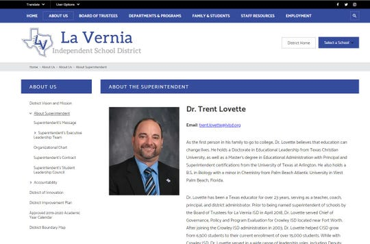 A screenshot shows La Vernia ISD superintendent Trent Lovette.