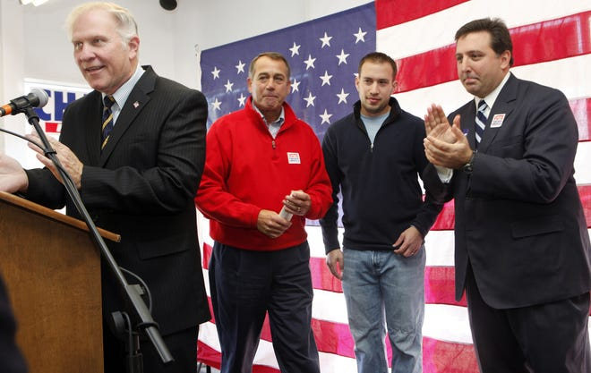 Jamie Schwartz is pictured (center right wearing the black sweater) in 2009 as he listens to Rep. Steve Chabot(far left) says a few closing remarks at Chabot's headquarters in Cheviot. Also in attendance is former Speaker of the House John Boehner (center left) and Chairman of the Hamilton County Republican Party Alex M. Triantafilou(right). Photos taken 11/1/09. The Enquirer/Amie Dworecki