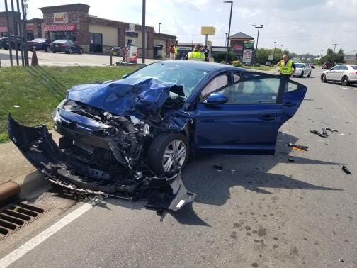 One of the vehicles in a wreck at Needmore Road and Wilma Rudolph Boulevard on Wednesday, Sept. 5, 2019.