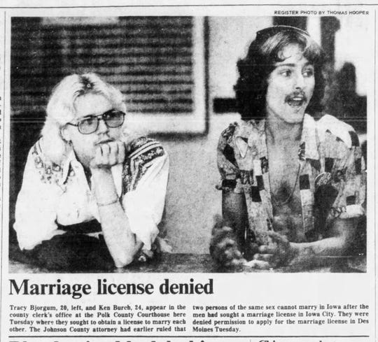 An old Des Moines Register photo shows Tracy Bjorgum, 20, and Kenneth Bunch, 24, applying for a marriage license in June of 1976 at the Polk County Courthouse.