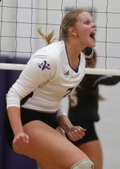 Norwalk junior Jalyn Simon reacts to a spike. Indianola came back from two games down to beat Norwalk at home on Sept. 3.