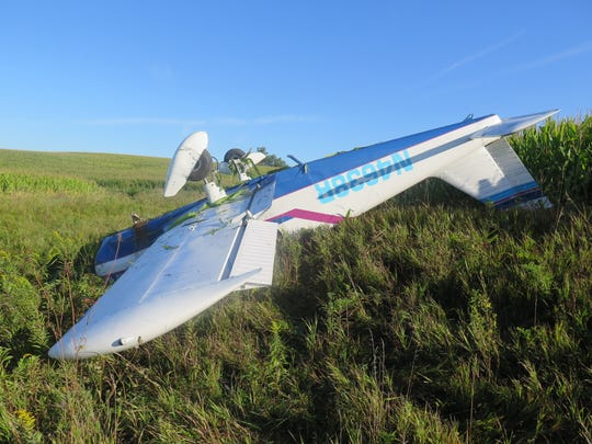 Eric Chrystal of Jefferson, Iowa, suffered minor injuries when his single-engine airplane crashed in a cornfield in Adair County.