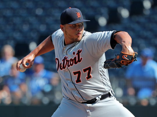 Tigers relief pitcher Joe Jimenez pitches during the ninth inning of the Tigers' 6-4 win on Thursday, Sept. 5, 2019.