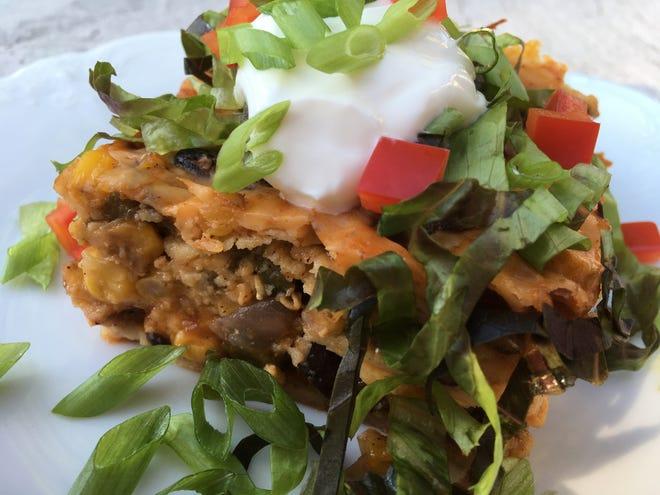Black Bean and Corn Enchilada Casserole.
