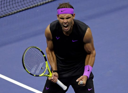 Rafael Nadal celebrates after defeating Diego Schwartzman during the quarterfinals of the U.S. Open.