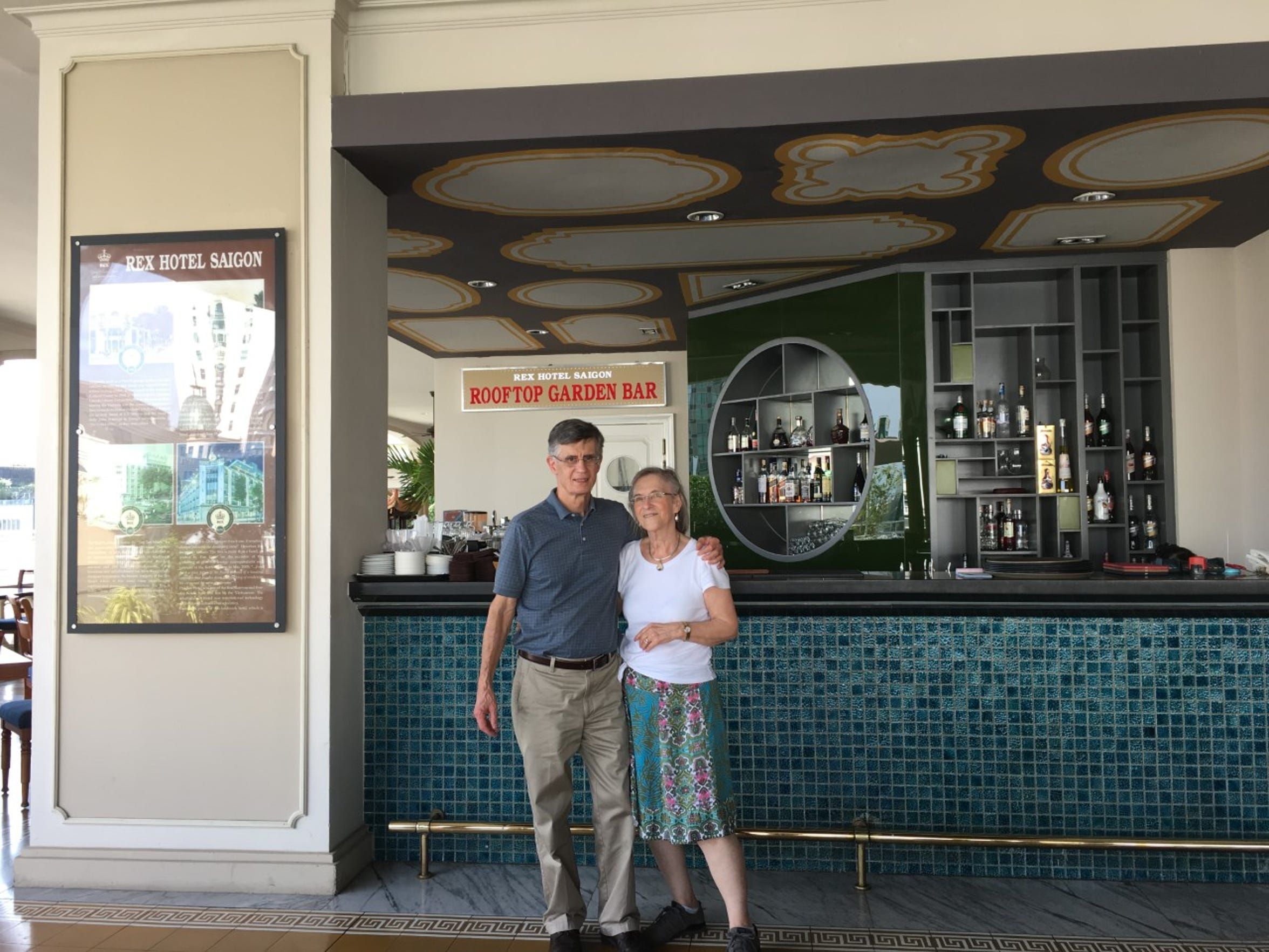 This is Hattie Ford and second husband, Jim, during their visit to Vietnam in January. They are at the Rex Hotel in Saigon.