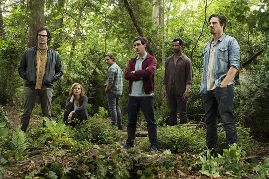 "Bill Hader, Jessica Chastain, James McAvoy, James Ransone, Isaiah Mustafa and Jay Ryan in ""It Chapter Two."""