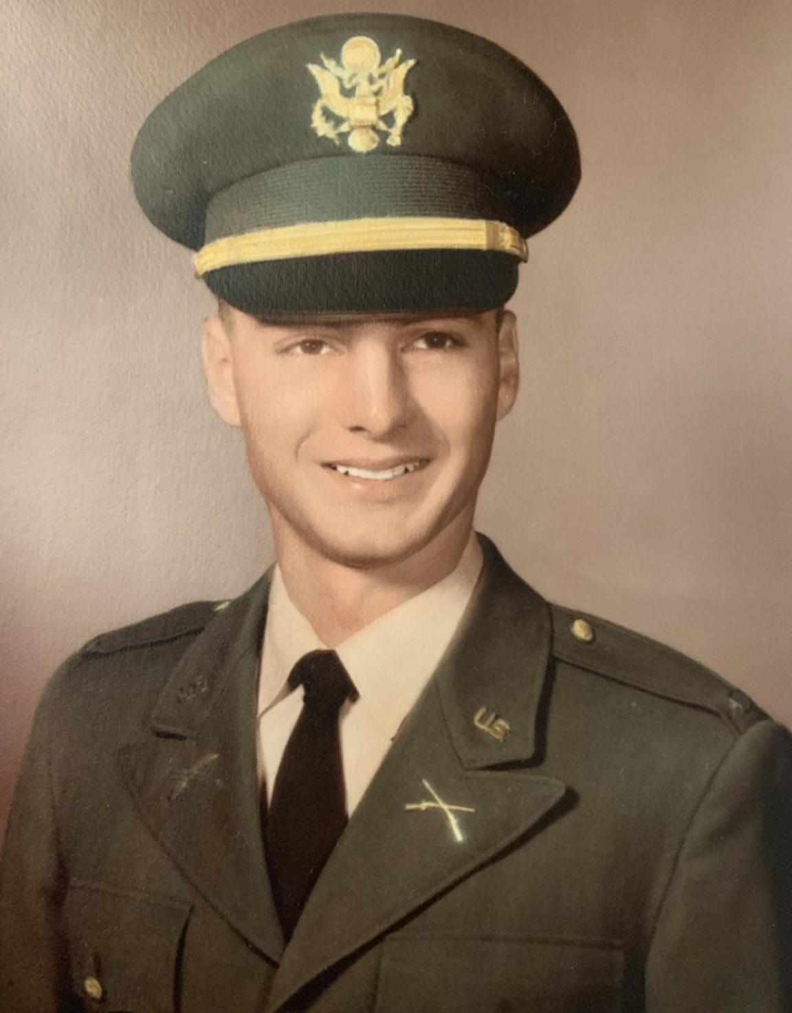 Deane Taylor in his uniform. He was a helicopter pilot for the Army who was shot down during a reconnaissance mission in January 1969.