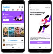 Screenshots of Facebook Dating, a mobile-only matchmaking service.