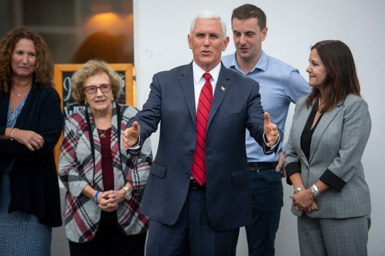 U.S Vice President Mike Pence, his wife Karen Pence, right, his sister Anne Pence Poynter, left, and his mother Nancy Pence Fritsch arrive in Doonbeg, Ireland, Tuesday Sept. 3, 2019. Speaking to reporters in Dublin, where he spent the day, Pence spoke about his personal connection to the village of Doonbeg the site of both the Trump International Golf Links & Hotel as well as family history.