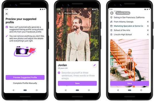 Screenshots of Facebook Dating, a mobile-only matchmaking service that launches Thursday in the U.S.