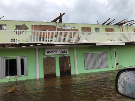 The roof of this building was ripped off by Category 5 Hurricane Dorian. This photo, taken on Sept. 4, 2019, is from the town of Spring City on Abaco in the Bahamas. Spring City is five miles south of Marsh Harbour Airport.