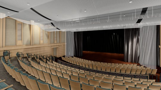 An artist's rendering of BIG ARTS' new performing arts hall, including more comfortable seats and a stage that's 2 1/2 times bigger.