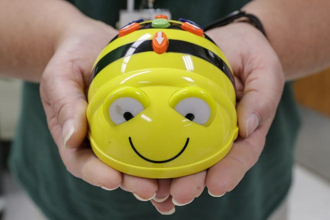 A Bee-Bot, a teaching tool that introduces young learners to basic coding.
