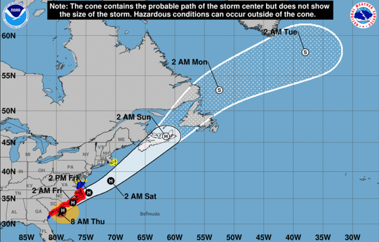 Hurricane Dorian's track as of 8 a.m. Thursday