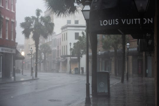 """King Street in Charleston is pictured on Sept. 5, 2019, as Hurricane Dorian moves along the South Carolina coastline. """"Not even hurricanes do this,"""" said College of Charleston professor Wayne Smith of the coronavirus' impact on the hotel industry in South Carolina."""