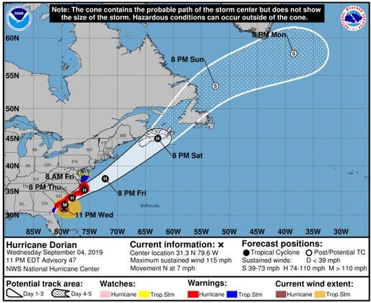 Hurricane Dorian became a Category 3 storm as it moved closer to the Carolina Coast late Wednesday.
