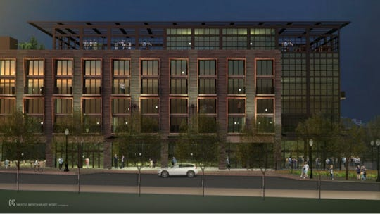 Renderings of Markley Street Hotel, as submitted to the Greenville Design and Review Board.