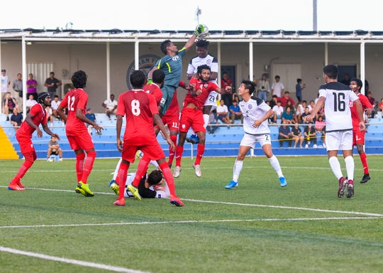 The Maldives and the Matao compete in a Round 2 match of the preliminary qualification for the FIFA World Cup Qatar 2022 and AFC Asian Cup China 2023 at the Guam Football Association Training Center in Dededo in this Sept. 5 file photo. The Maldives beat Guam for the second time Tuesday, winning 3-1 in the Maldives.