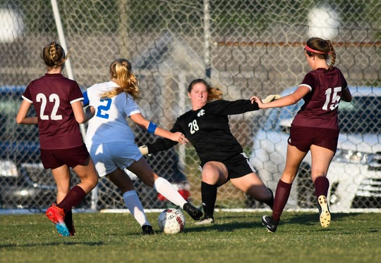 Memorial's Isabel Alexander (2) and Henderson County goalie Ashby Greenwell (28) battle at the goal in the first half as the Memorial Tigers play the Henderson County Lady Colonels at Colonel Field in Henderson Wednesday evening September 4, 2019.