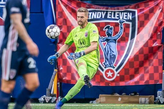 Indy Eleven goalkeeper Evan Newton takes a goal kick vs. New York Red Bulls II