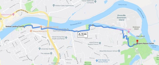 The map of the route for Pedal Jam Knoxville on Sept. 28, 2019. The route was deliberately planned to run through lightly-trafficked areas, and co-organizer Tommy Smith said that roaming volunteers will be on hand to ensure a kid-friendly event.
