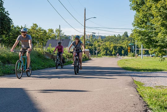 Cyclists test out the route for Pedal Jam Knoxville ahead of the Sept. 28 event. There will be two main stops: one at Ijams Nature Center and the second at Suttree Landing Park. Friends and families will be encouraged to cycle through the South Knoxville waterfront  and stop to enjoy music, food, beer and  kid-friendly activities along the ride.