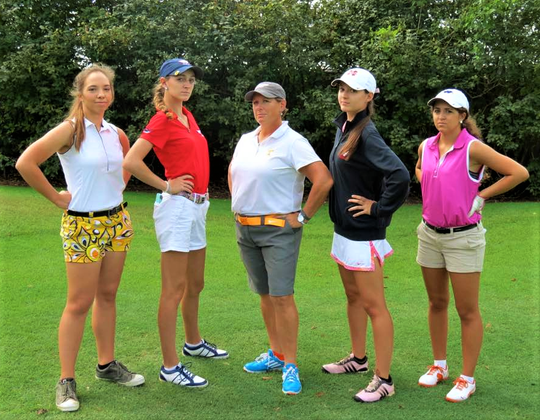Louise Ball, center, stands with students Cindy Barnes Hartsell, Dani Swaggerty, Kelly Herman and Kendall Tomberlin at Gettysvue Country Club in 2016.