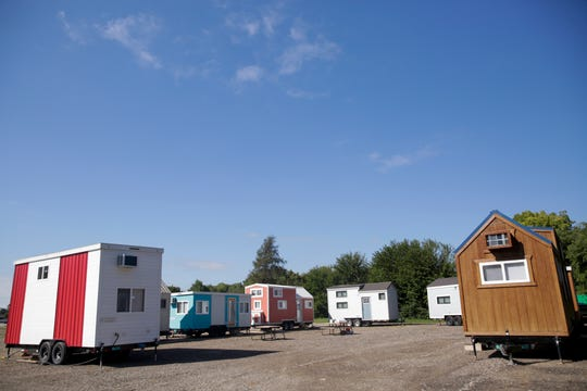 Hammer Down Town, Thursday, Sept. 5, 2019 in West Lafayette. The tiny home community from Try It Tiny, located at the corner of 3rd st. and McCutcheon drive, has eight homes available for booking for six home games this season.