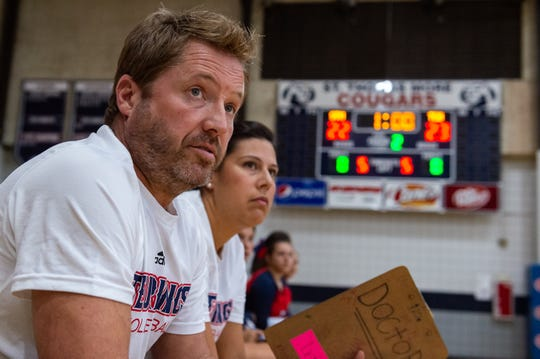 Rebels coaches Terry Hebert and Meredith Hebert as Teurlings Catholic takes on St Thomas More Volleyball. Sept. 3, 2019.