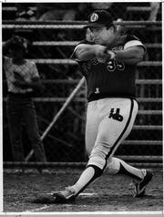 Bill Gatti takes a swing during a softball game with the Kentucky Bourbons.