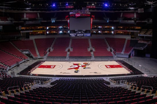 A closer look at the new Dunking Cardinal Bird logo on the updated KFC Yum Center Court. Nov. 4, 2019
