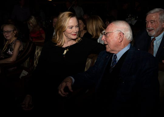 Peabody Hotel owner, Jack Belz, and Memphis actress, Cybill Shepherd, share a moment during the hotel's Duck Walk Hall of Fame induction.