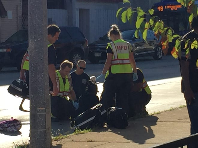 Milwaukee Firefighters treat a child struck by a vehicle at about 8:30 a.m. on Thursday morning in the 2600 block of W. Fond du Lac Avenue. The child was transported by Milwaukee Fire Department paramedics to Children's Hospital of Wisconsin in Wauwatosa. The child's condition wasn't immediately available.