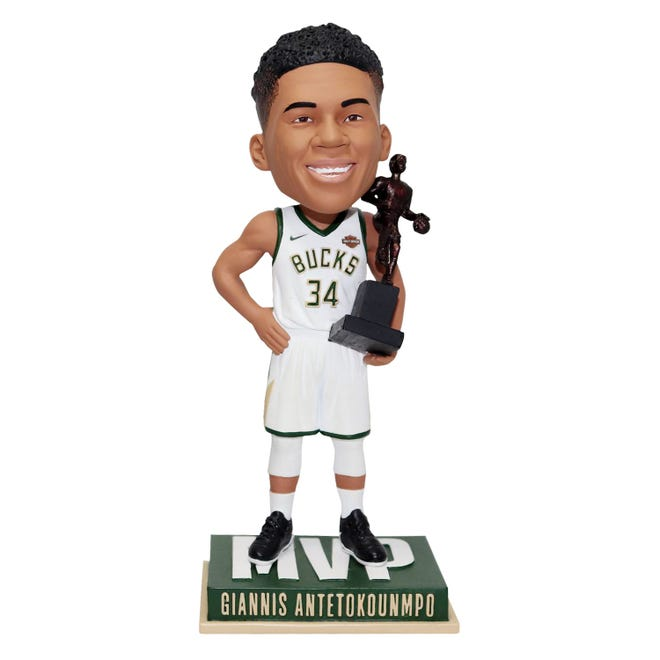 Giannis Antetokounmpo MVP bobblehead is among the giveaway Items for 2019-20 season.