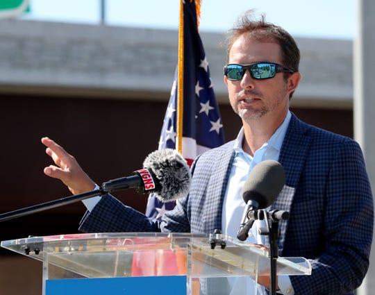 Murfreesboro Mayor Shane McFarland speaks during a dedication ceremony at the bridge over Broad Street bridge which was officially named Blue Raider Bridge on Thursday Sept. 5, 2019, in Murfreesboro.