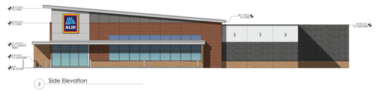 This rendering shows a side view for a future Aldi grocery store at the northeast corner of Shelbyville Highway and Joe B. Jackson Parkway in Murfreesboro.